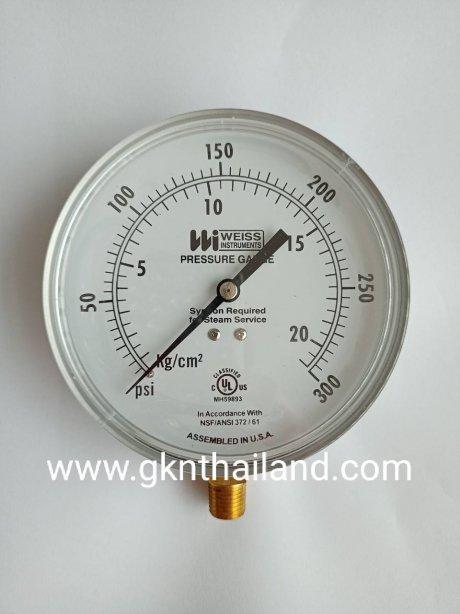 """WEISS"" Pressure gauge Model : 4CTS-1 Range 0-300 psi & 0-21 kg/cm2 Body : sus304 Dial.4.5"" Conn.brass 1/4""npt Bottom เกจวัดแรงดัน ยี่ห้อ ""Weiss"" รุ่น 4CTS-1 แรงดัน 0-300 psi & 0-21 kg/cm2 ขนาดหน้าปัทม์ 4.5"" ตัวเ"
